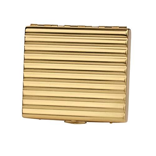 N / A Zigarettenetui 70MM Kurze Zigarettenspitze Tragbar 20 Sticks Dünne Kupfer-Zigarettenetui Metall-Zigarettenspitze Männer Und Frauen (Color : Gold, Size : 72x63x11mm)