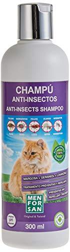 MENFORSAN Champú Anti-Insectos con Margosa, Geraniol Y Lavandino - Gatos 300 ml, verde ⭐
