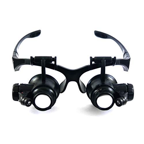 ZHANYI Gloeiende Bril Vergrootglas Verrekijker Hoofd Het dragen van Vergrootglas Klok Reparatie Vergrootglas Met 2 LED Lights Verwisselbare Lens: 10X, 20X, Antiek