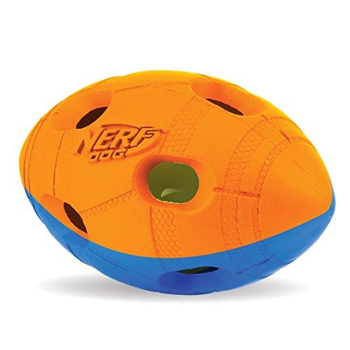 Nerf Dog Hundespielzeug LED Football, Hundespielzeug LED Ball, orange/blau, 10,2cm