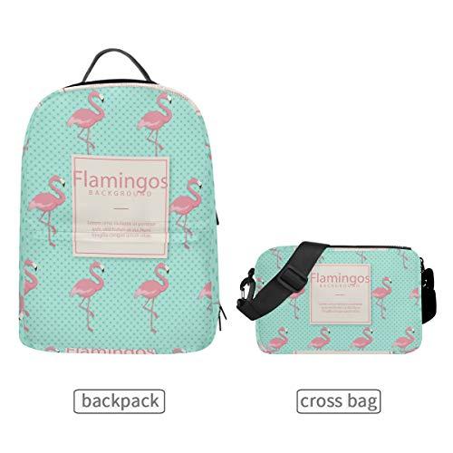 DEZIRO Flamingo Achtergrond School Pack met Afneembare Cross Bag Rugzakken