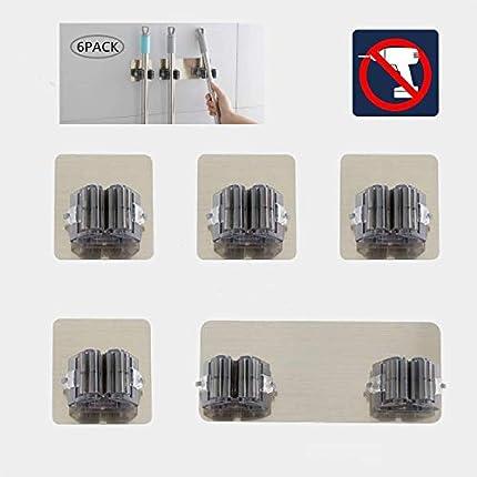 RIXOW Colgador de Escobas, 6 pcs Soporte para Fregonas Ganchos Multiuso Adhesivos de Baño Cocina, Porta Escoba de Pared Sala de Estar, Balcón