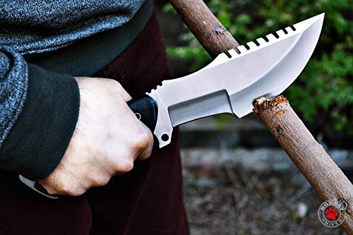 Bobcat Knives Custom Handmade Tracker Knife Tactical Survival Fully Functional 12'' Overall with Left Hand Sheath ONLY