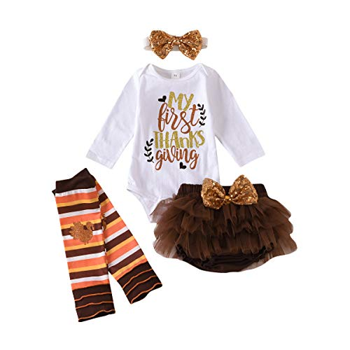 Newborn Baby Girl First Thanksgiving Outfits Daisy Romper...