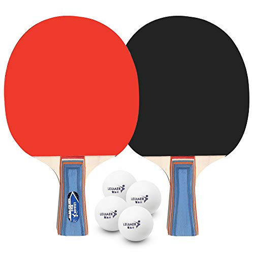 Lixada 2 Raquetas de Tenis de Mesa y 4 de Tenis de Mesa, Juegos de Ocio Al Aire Libre en Interiores
