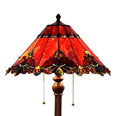 Bieye Tiffany Style Stained Glass Mission Floor Lamp with 17 inches Handmade Lampshade, Suitable for Decorating Room