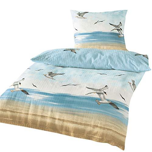 Traumschlaf Seersucker Bettwäsche Seemöwen 1 Bettbezug 135 x 200 cm + 1 Kissenbezug 80 x 80 cm