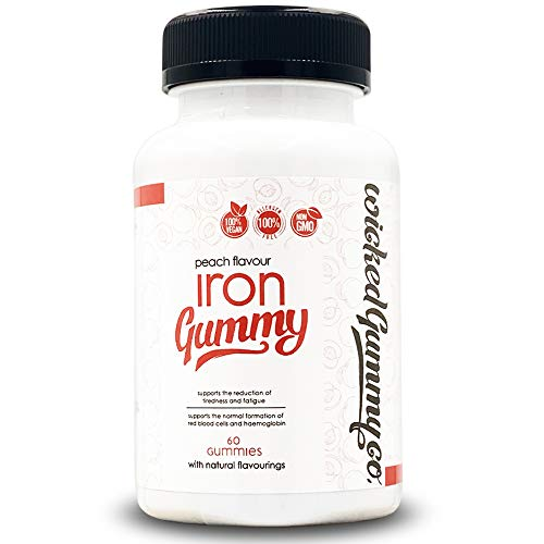 Wicked Gummy Co. Iron Gummy | Peach Flavour Chewable Iron Gummies | Vegetarian & Vegan | Daily RDI of Iron per Serving | Non-GMO | Tackles Fatigue & Supports Red Blood Cells (60 Gummy Vitamins)