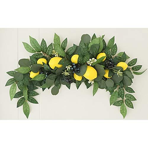 Timpfee Lemon Berry Decorazione Ghirlande in rattan, Ghirlande in schiuma, materiali naturali, porta tavolo ornamenti fiori artificiali