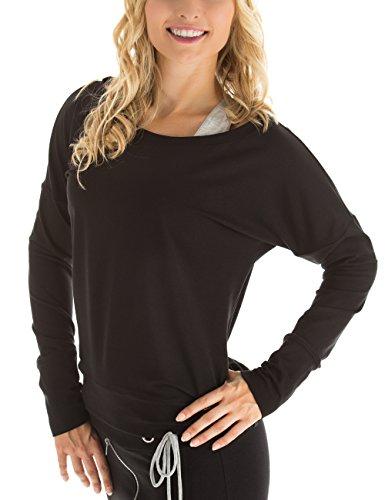 WINSHAPE Damen Longsleeve Freizeit Sport Dance Fitness Langarmshirt, schwarz, M