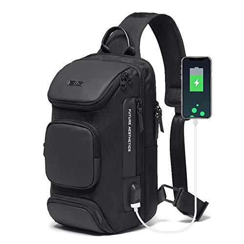 OZUKO Sling Backpack Sling Bag Crossbody Backpack Shoulder Casual Daypack Rucksack for Men (Black1)