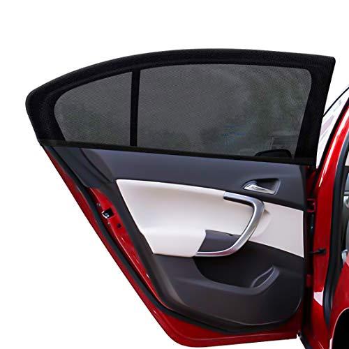 PHYLES Sonnenschutz Auto Baby - 2 Stück mit UV Schutz Sonnenschutz Auto für Schützt Mitfahrer Kinder Baby Erwachsene Haustiere, Selbsthaftende Universal Heckscheibe (schwarz)