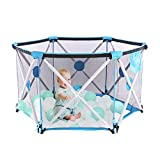 Parc bébé, parc pliable et portable pour bébés, parc hexagonal pliant avec filet respirant, jeu intérieur et extérieur pour les 0 à 4 ans (BLUE,pas de balles)