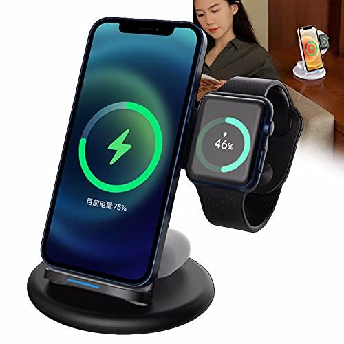 Nomi Cargador Inalámbrico, Adecuado para Apple iPhone 8/9/10/11 Series 12/12 Pro / 12 Pro MAX/AirPods 2 / Pro Base De Carga Inalámbrica De Android, Adecuado para Apple Watch Black