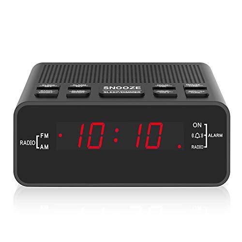 Digital Alarm Clock Clock Radio with LED DisplayAM/FM Sleep Timer Dimmer Snooze Battery Backup for BedroomsBedsideShelf Red …