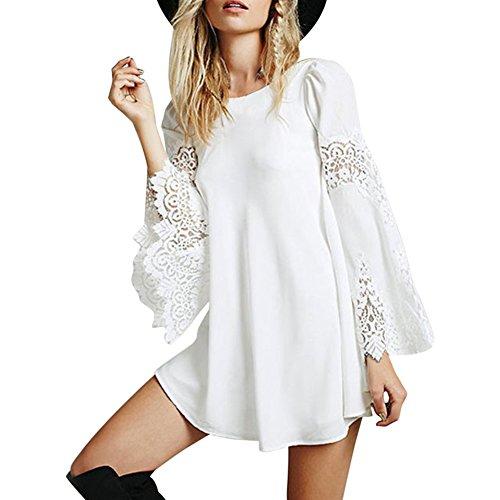 Petalum Damen Kleid Kurz Langarm Trompetenärmel Partykleid Langarm Spitzen O Ausschnitt Sommerkleid Mini Kleid