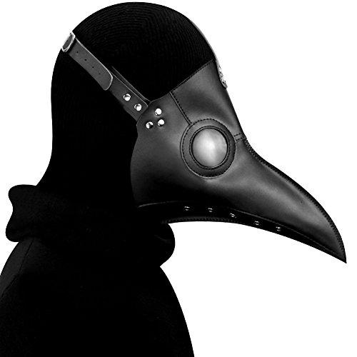 ZED- Schnabelmaske Mittelalter Pest-Maske Doktor Arzt Kopfmaske Steampunk Kostüm Zubehör für Erwachsene Halloween Party Fasching Karneval PU Leder