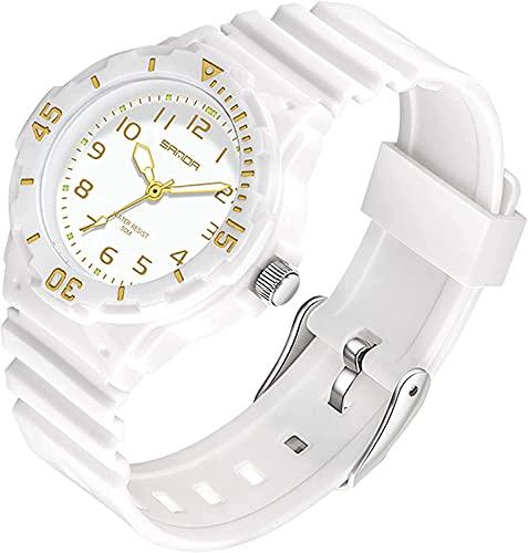QHG Reloj de Mujer Pareja de Relojes Enfermera Minimalista Simple Analog Lady Watch Sports Impermeable Luminoso Luminoso Regalos para Mujeres (Color : White)