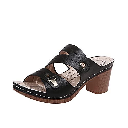 Rails Sandalias de Mujer con Plataforma de cuña, Sandalias de tacón en Bloque, Zapatos de Vestir de Fiesta con Punta Abierta y tacón Grueso de Verano (Color : Negro, Size : 6)