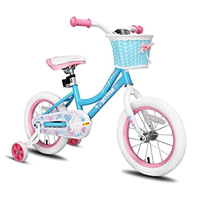JOYSTAR 16 Inch Kids Bike for Girls with Training Wheels & Basket for 4 5 6 7 Years Child, Kids Bicycle with Basket, Children Cycling, Blue