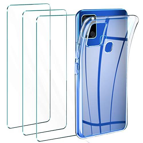 Leathlux Cover Compatibile con Samsung Galaxy A21s Trasparente con 3 Pellicola Vetro Temperato, Morbido Silicone Protettivo Bumper TPU Gel Smartphone Custodia Case