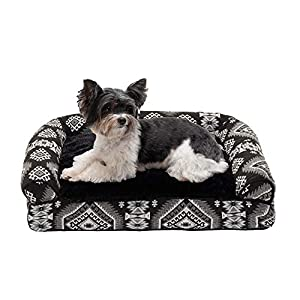 Furhaven Pet Dog Bed – Plush Kilim Southwest Home Decor Pillow Cushion Traditional Sofa-Style Living Room Couch Pet Bed with Removable Cover for Dogs and Cats, Black Medallion, Small