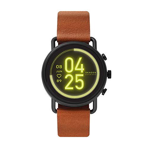 Skagen Connected Falster 3 Gen 5 Stainless Steel and Leather Touchscreen Smartwatch, Color: Brown/Black (Model: SKT5201)