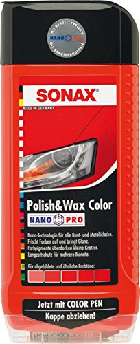 SONAX 296400 Polish & Wax Color NanoPro rot, 500 ml