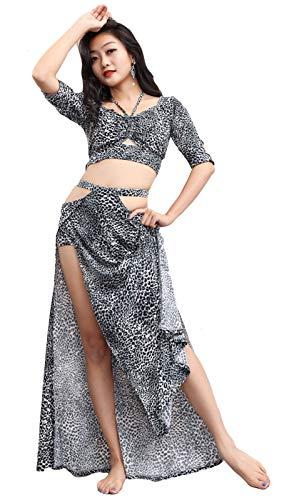 MEIGUI Vestido De La Danza del Vientre De Las Mujeres Tops Falda Conjunto Sujetador De Impresin De Leopardo Dancing Split Falda Traje De 2 Piezas Equipo Profesional De La B-S