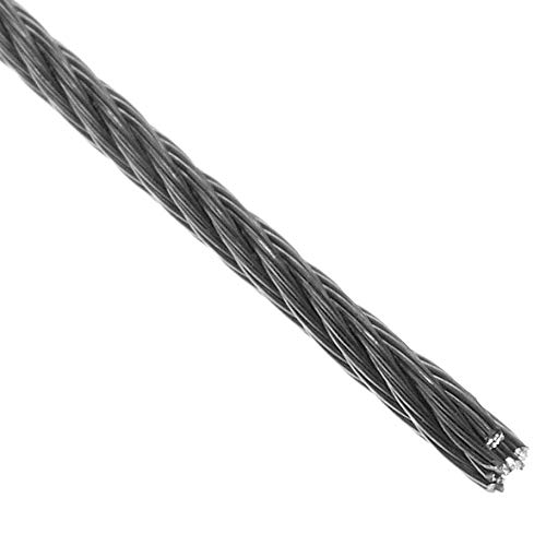 BeMatik - Cable de acero inoxidable de 6,0 mm. Bobina de 10 m. Recubierto de plástico transparente