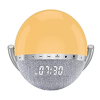 LEMEGA S6 Bluetooth Speaker FM Radio Clock Radio Alarm Night Light with Simulation Sunrise / Sunset Function 7 Colours 9 Natural Sounds and Touch Control,Ideal Gift – White