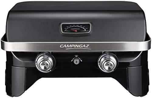 CAMPINGAZ Attitude 2100 LX Mesa portátil, 5 kW de Potencia, Barbacoa de Gas para Camping con Tapa, termómetro, Parrilla de Hierro Fundido y Plancha, Negro