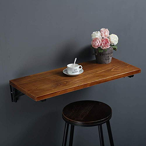 """(47"""" Lx14 W) Industrial Rustic Folding Wall Mounted Workbench Drop Leaf Table, Dining Table Desk, Pine Wood Wall Mounted Bar Tables,Workbench,Study Table,Collapsible Butcher Block Solid Wood Table"""