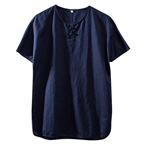 Ginli Camicia Uomo Elegante Tinta Unita Cotone e Lino Manica Corta Casual - T-Shirt Uomo Vintage Uomo Tumblr Estiva Particolari