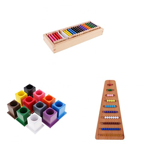 F Fityle Kids Préscolaire Apprentissage des Escaliers en Perle / Boîte De Couleur Jouets Montessori