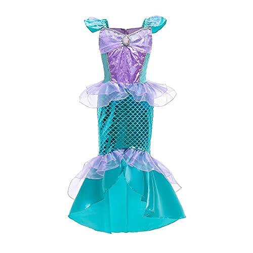 Lito Angels La Sirenita Princesa Ariel Disfraces para niños Niñas Disfraces de Halloween Vestidos de fiesta de cumpleaños Edad 5-6 años Verde 285