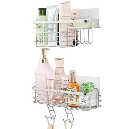 ARNTY Mensola Doccia Bagno 2 Pezzi,Porta Shampoo Doccia,Adesiva Mensole Bagno Doccia,Mensola per Doccia con Ganci per Bagno Cucina (Ripiani Doccia D)