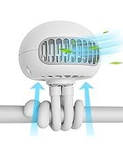 SmartDevil-kinderwagenventilator, draagbare ventilator met 3 snelheden en flexibel statief, 60 ° draaibare persoonlijke kwallen, op batterijen werkende draagbare ventilator, voor kinderwagen (Wit)