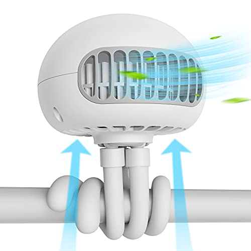 SmartDevil Ventilador de Cochecito,Asientos de automóvil con batería Ventilador con Clip Ventilador de Escritorio USB silencioso de 3 velocidades 60° Giratorio para Asiento de Coche o Tienda(Blanco)