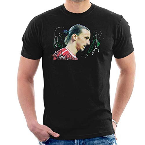 VINTRO Zlatan Ibrahimovic Herren T-Shirt Original Portrait von Sidney Maurer Professionell Bedruckt Gr. L, Schwarz