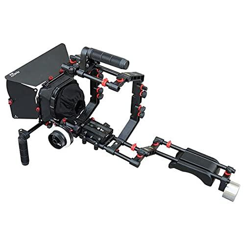 FILMCITY - Jaula para cámara réflex digital (FC-03) con Follow Focus & Matte Box | Soporte estabilizador de hombro para vídeo DV videocámara HD DSLR | El mejor kit asequible