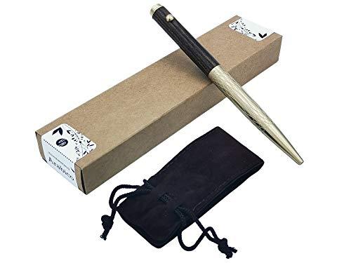 Kugelschreiber aus Holz und Messing - Tintenroller - Hochwertig & Handgefertigt - Holzkugelschreiber in Samt Etui und Geschenk Box - Sehr Edel und ein tolles Geschenk (Arabico)
