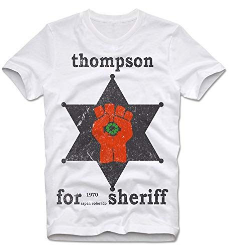 T-Shirt Hunter Thompson Too Weird to Live Rare Die Faer Loathing Las Vegas Gonzo Sheriff Star M