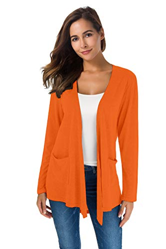 TownCat Cardigans for Women Loose Casual Long Sleeved Open Front Breathable Cardigans with Pocket (Orange, XL)