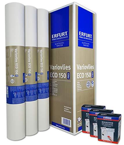 WACOLIT-SET 3 Rollen 56,25m² ERFURT Eco Vlies 150g + 3x Wilckens Rollkleister, Variovlies Malervlies überstreichbare Vliestapete