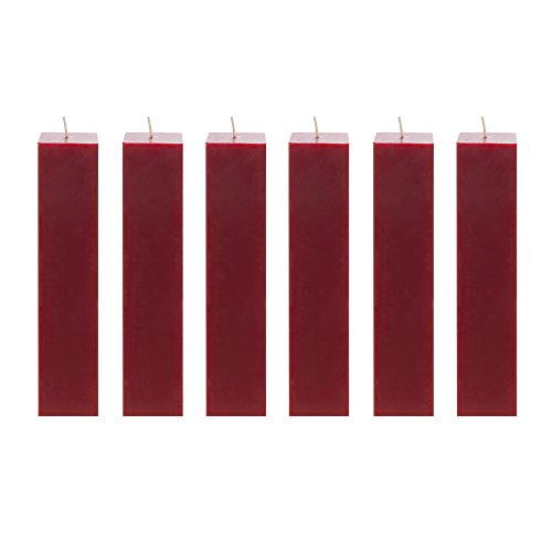 Mega Candles 6 pcs Unscented Red Square Pillar Candle | Hand Poured Premium Wax Candles 2' x 9' | For Home Décor, Wedding Receptions, Baby Showers, Birthdays, Celebrations, Party Favors & More