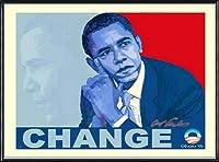 ポスター アームストロング Barack Obama change 額装品 アルミ製ハイグレードフレーム(ブラック)