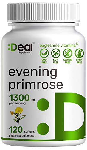 Evening Primrose Oil 1300mg Softgels, Standardized to 10% GLA (Gamma-Linolenic Acid)   Cold Pressed   Non-GMO & No Gluten   Up to 4 Months Supply