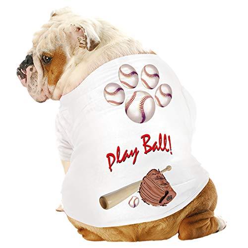Just Add My Dog 6081 Baseball K9 Dog Shirt White (XL (46-70 lbs.))