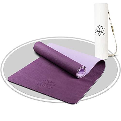 SUSTA – Premium Yogamatte rutschfest [183x61x0,6cm] – Gymnastikmatte schadstofffrei aus TPE & EVA Schaumstoff – Inklusive Tragegurt & Tragetasche (Lila)